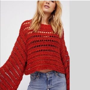 ✨🧶✨FREE PEOPLE Caught Up Crochet Bell Sleeve ✨🧶✨